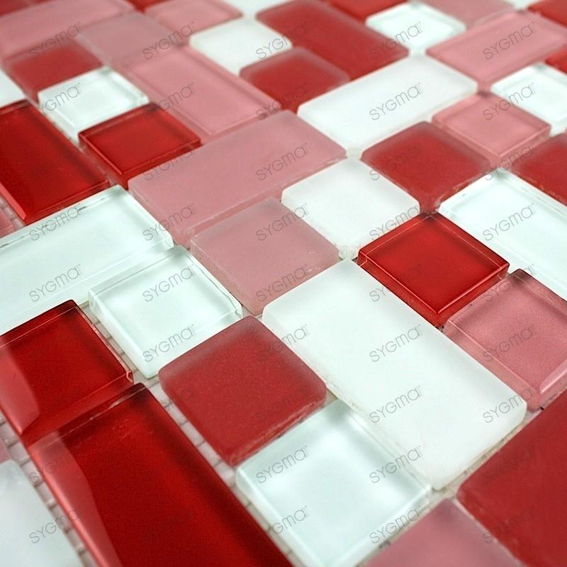 Mosaique pas cher en verre 1m2 mod le cubicrouge - Mosaique salle de bain pas cher ...