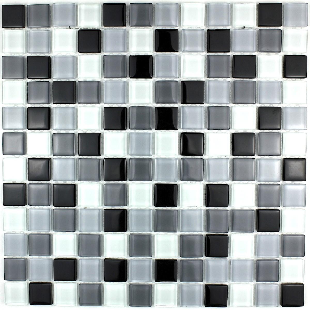 mosaique carrelage verre salle de bain douche noir mix carrelage mosaique - Mosaique Salle De Bain