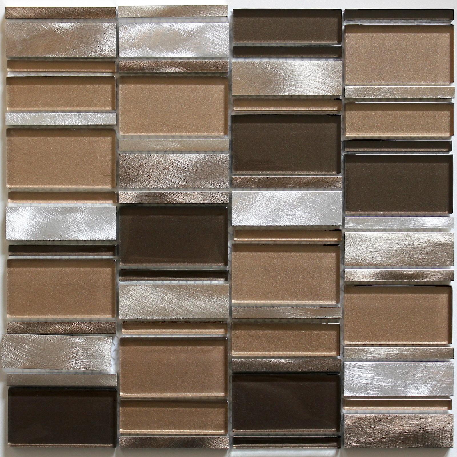mosaque de salle de bain et cuisine aluminium et verre ceti marron - Salle De Bain Mosaique Et Carrelage