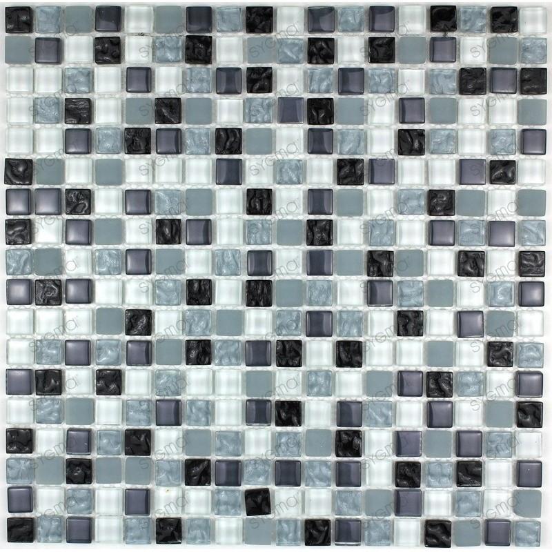 Carrelage mosaique verre salle de bain 1 plaque OPUS NOIR