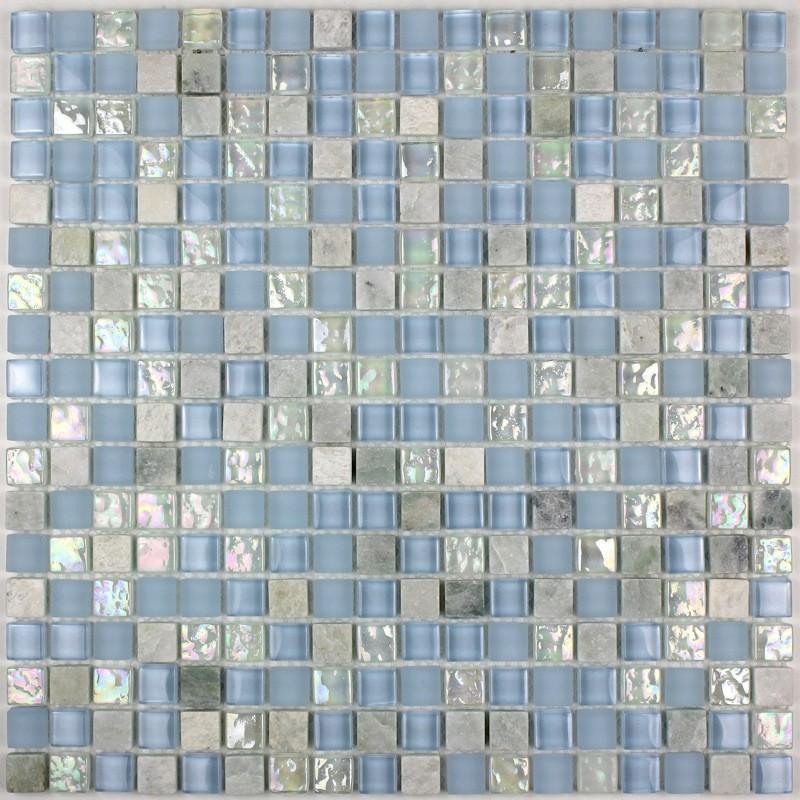 carrelage mosaique verre et pierre douche italienne 1 plaque lagon carrelage mosaique - Salle De Bain Mosaique Douche Italienne