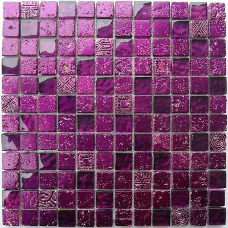 Carrelage mosaique verre et pierre 1 plaque METALLIC VIOLET