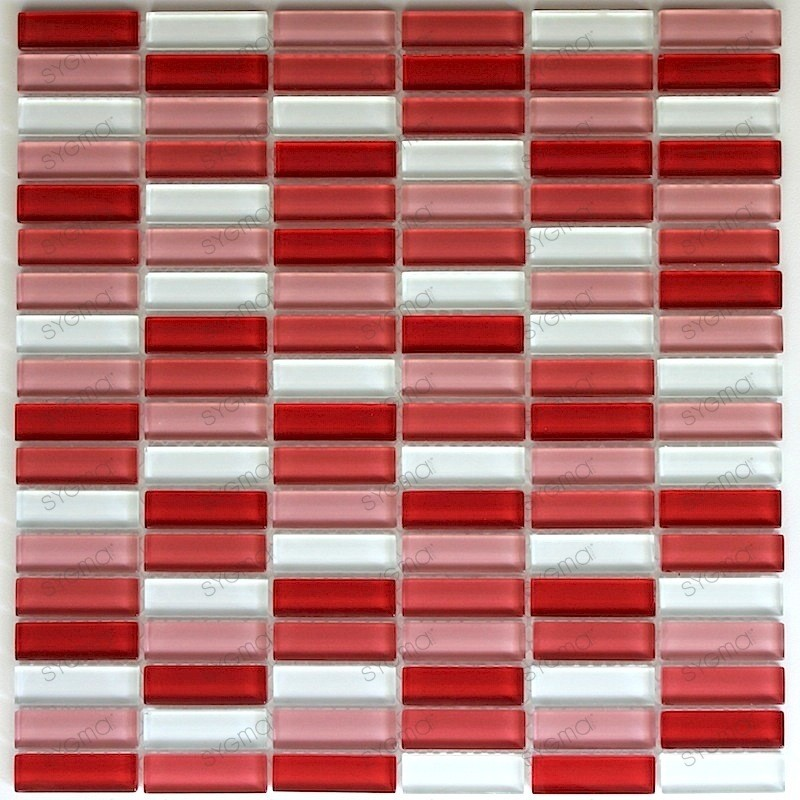 Tile glass mosaic rectangular red carrelage mosaique for Carrelage mural mosaique