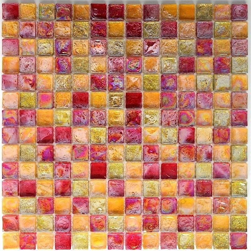 carrelage mosaique verre douche salle de bain Arezo Orange