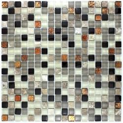 Azulejo mosaico de vidrio y piedra 1 placa de VERDI