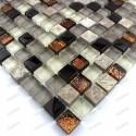 Carrelage mosaique verre et pierre 1 plaque VERDI