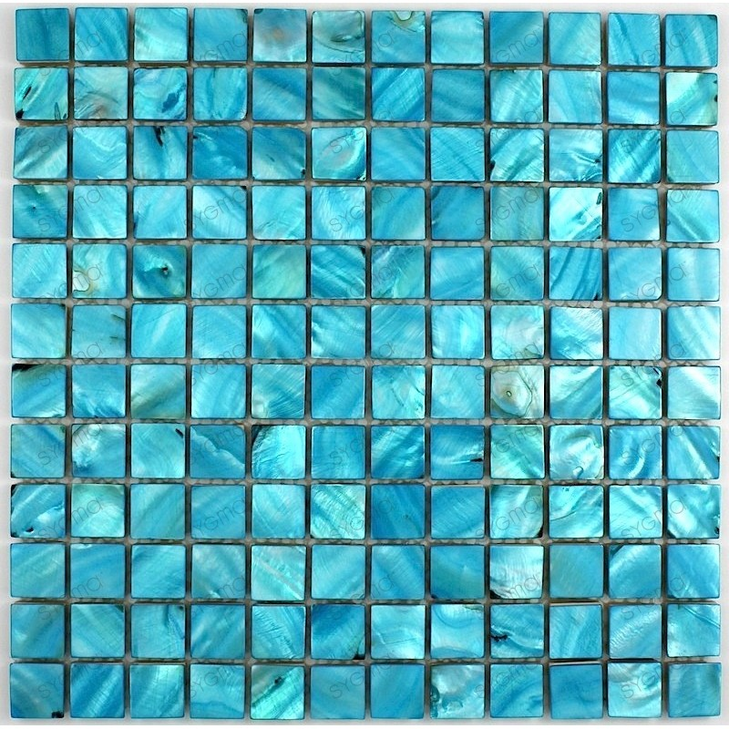 Tile mosaic mother-of-Pearl model NACRE23 blue - carrelage-mosaique