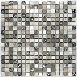 Mosaique carrelage inox et pierre 1 plaque ALLEGRO