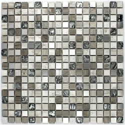 Stainless steel tile and stone 1 mosaic plate ALLEGRO
