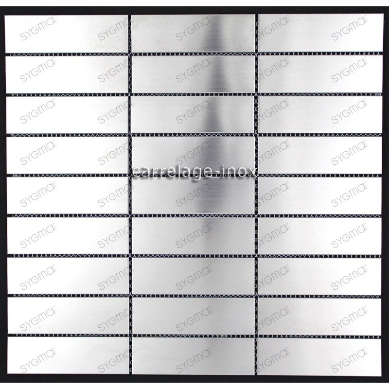 Plaque inox mosaique credence cuisine cm rectangular98 for Plaque credence inox a coller