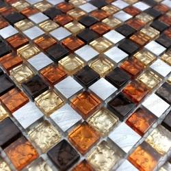 mosaico aluminio y vidrio frente cocina ducha baño cm-slot-moka