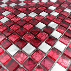 mosaico aluminio frente cocina ducha baño cm-slot-rouge