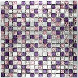 mosaico aluminio y vidrio frente cocina ducha baño cm-slot-violet