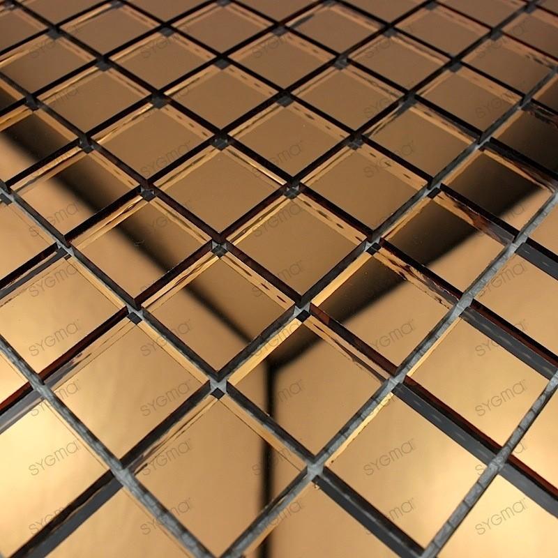 Mosaique verre carrelage effet miroir reflect marron for Carrelage effet miroir