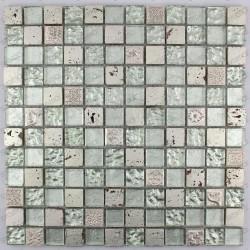 Tile stone and glass mosaic METALLIC SILVER