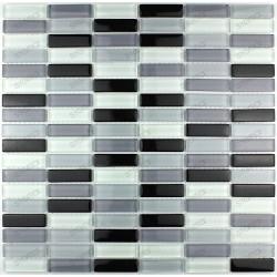 mosaico de vidrio cocina y bano modelo Rectangular Negro
