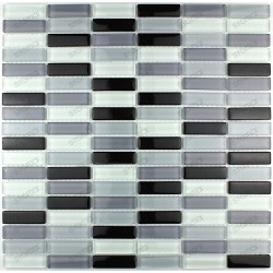 Tile glass mosaic splashback Rectangular black