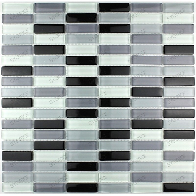 carrelage verre mosaique Rectangular Noir