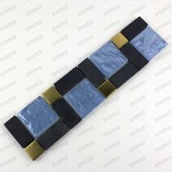 frise mosaique en verre inox et pierre modèle Mirage
