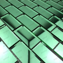 Mosaic glass tile mirror REFLECT brick Green