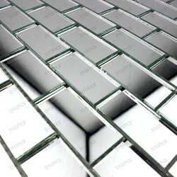 Mosaic glass tile mirror REFLECT brick neutre