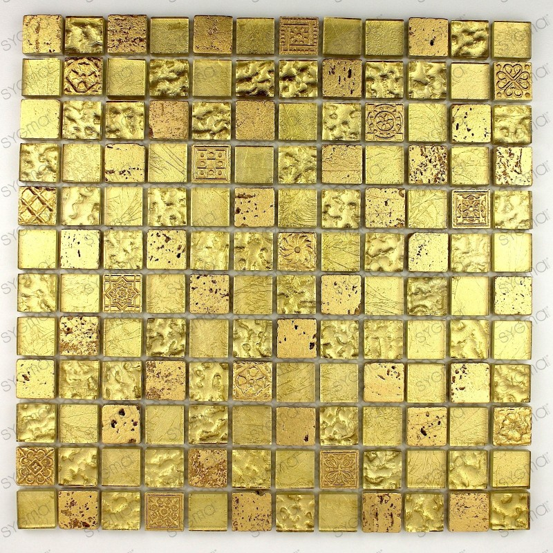 Tile mosaic glass and stone Alliage Or