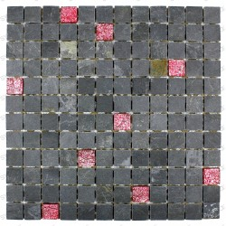 Tile mosaic glass and stone slate look Red
