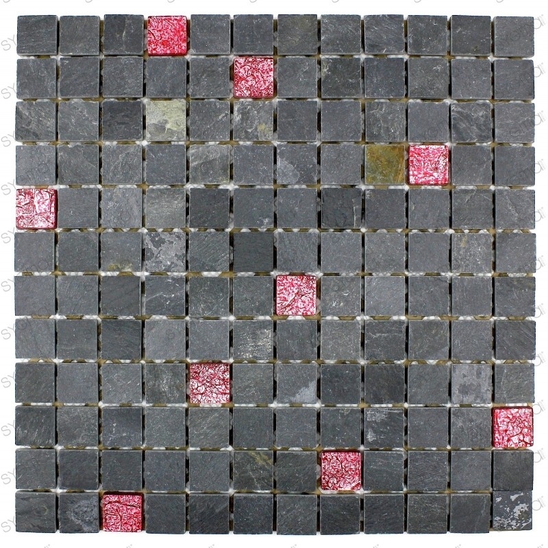 Carrelage mosaique verre et pierre ardoise ALLURE ROUGE