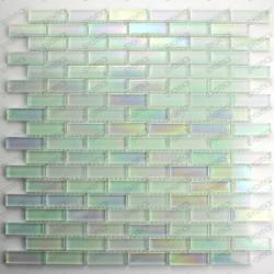 Tile mosaic white iridescent MURANO brick