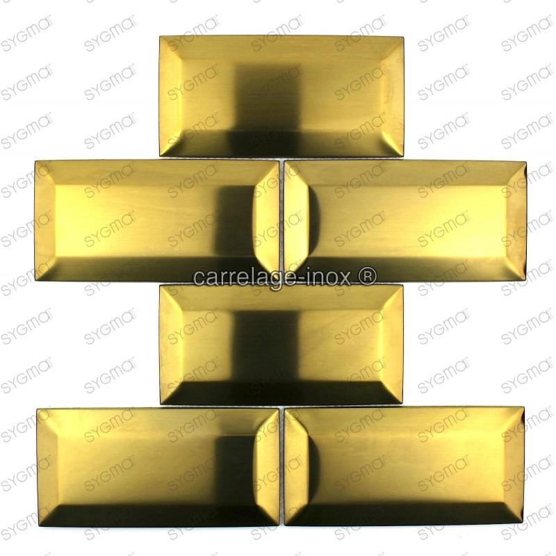 Carrelage cuisine credence inox mosaique cm metro gold for Plaque inox pour mur
