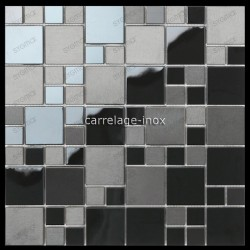 carrelage mosaique inox noir credence plaque cuisine cm-OKEN