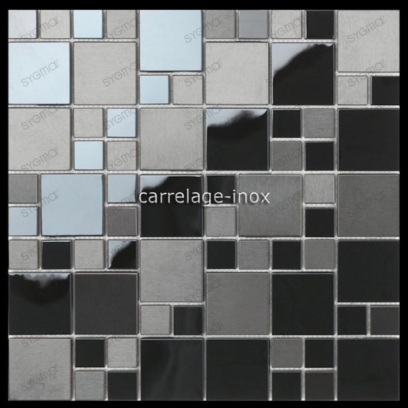 Tile mosaic stainless steel backsplash black kitchen Eska