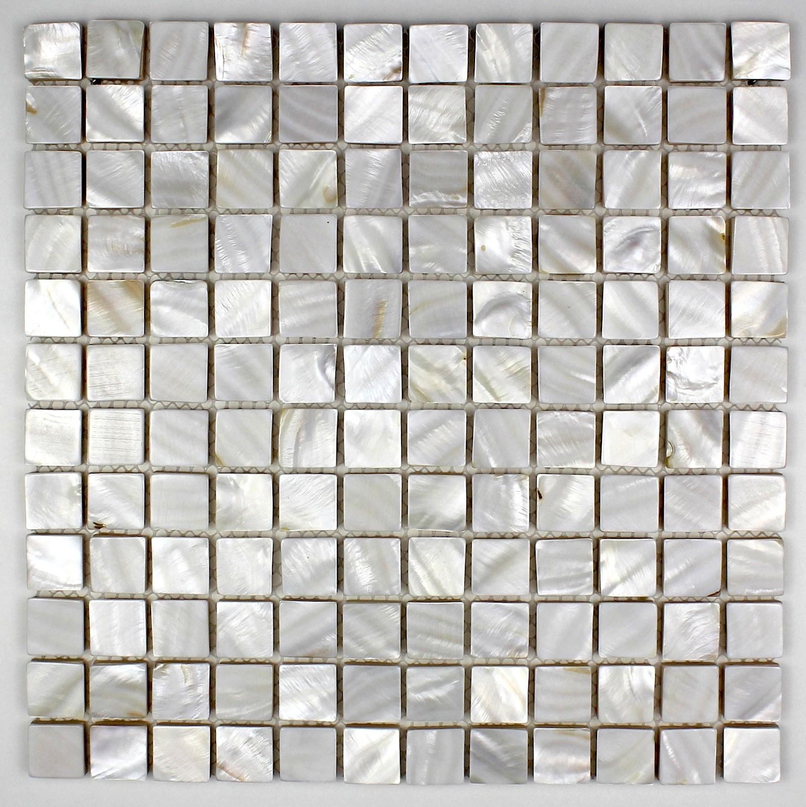 mosaïque de nacre carrelage douche salle de bain nacre 15 blanc