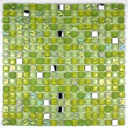 mosaic tiles glass and stainless steel bathroom shower cm-harris Green