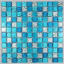 mosaique aluminium et verre credence cuisine douche cm-nomade bleu