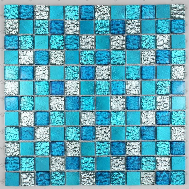 mosaique aluminium et verre credence cuisine douche cm-nomade bleu ...