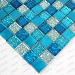mosaique aluminium et verre modele NOMADE BLEU