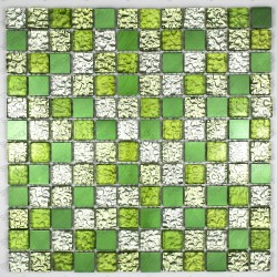 aluminium and glass splashback kitchen cm-Nomad-green mosaic