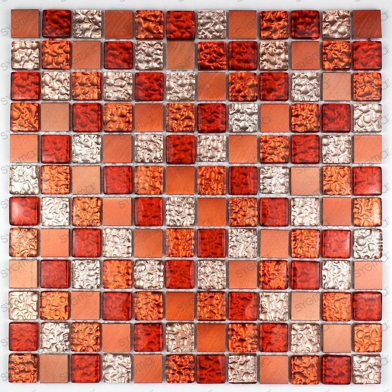 Mosaique aluminium et verre credence cuisine douche cm for Carrelage orange