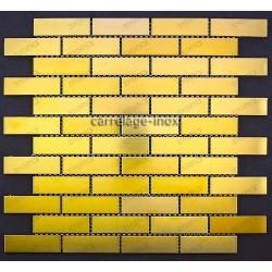 tiling kitchen stainless steel backsplash mosaic BRIQUE64 GOLD