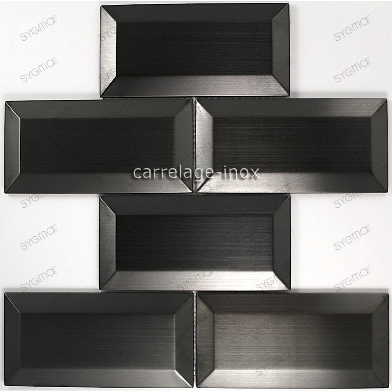carrelage pour mur cr dence en inox cm metro noir. Black Bedroom Furniture Sets. Home Design Ideas