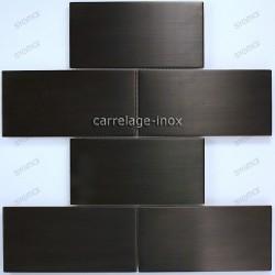 Mosaico en acero inoxydable cocina baño cm-BRIQUE150 NOIR