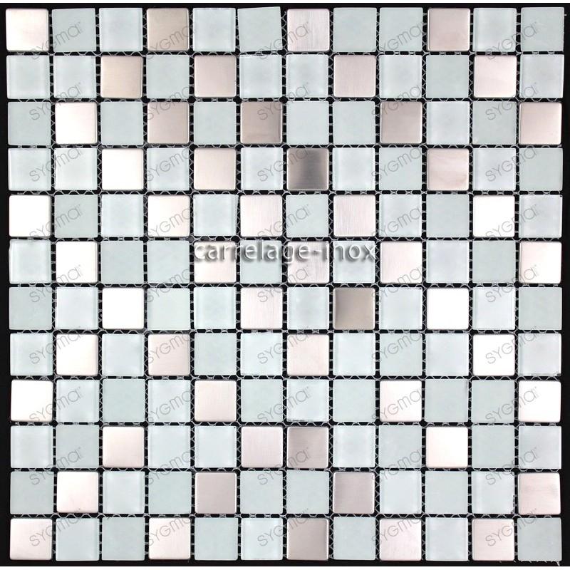 mosaico acero inoxidable y vidrio cocina ducha doblo blanc