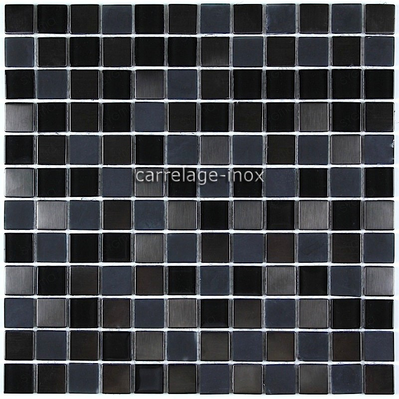 carrelage cuisine credence inox mosaique verre et inox cm doblo noir. Black Bedroom Furniture Sets. Home Design Ideas