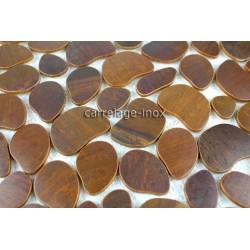 plaque inox mosaique credence cuisine galet cuivre vieilli