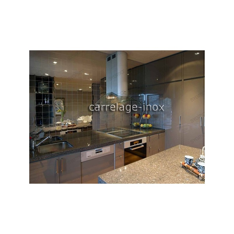 carrelage inox cuisine inox credence inox mosaique cm miroir 98. Black Bedroom Furniture Sets. Home Design Ideas