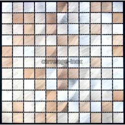 mosaico aluminio frente cocina ducha baño cm-alu25-marron