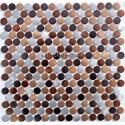 mosaico aluminio frente cocina ducha baño cm-circle-marron