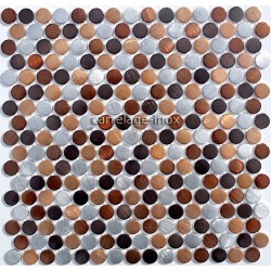 splashback kitchen aluminium mosaic shower aluminium cm-circle-Brown