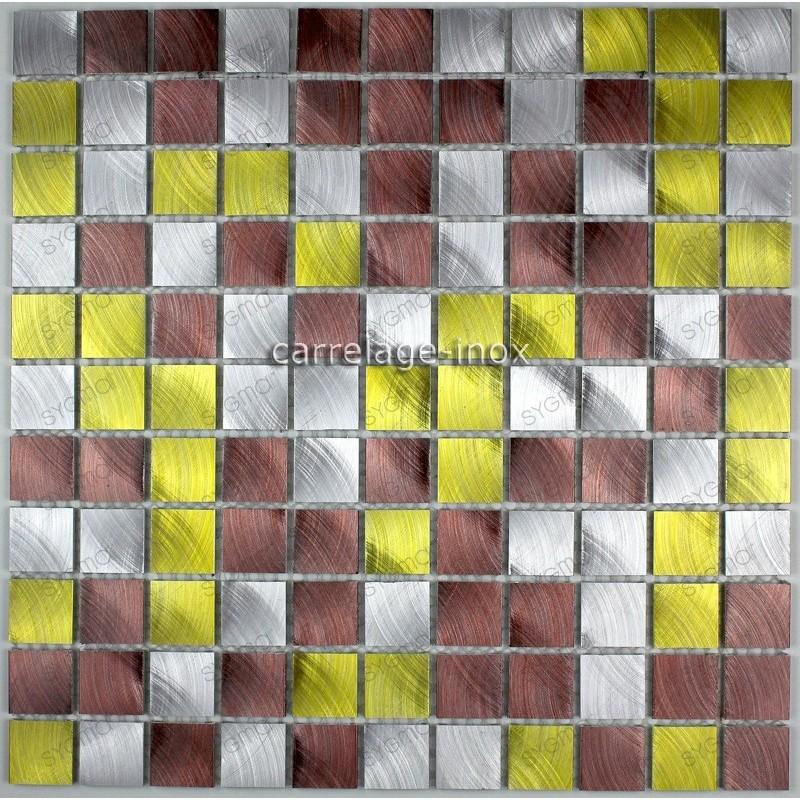mosaico aluminio frente cocina ducha baño cm-alu25-dore